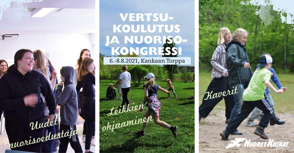 Vertsukoulutus ja Nuorisokongressi 6.-8.8. Kuvassa lapsia ja nuoria leikkimässä yhdessä.